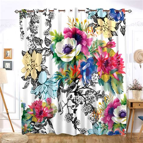 Flower Floral Multi Color Opaque Curtain Chinese Modern Simple
