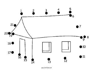 The simple, one-story house in this printable dot to dot
