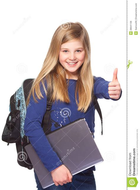 Schoolgirl With Laptop Smiling Thumbs Up Royalty Free