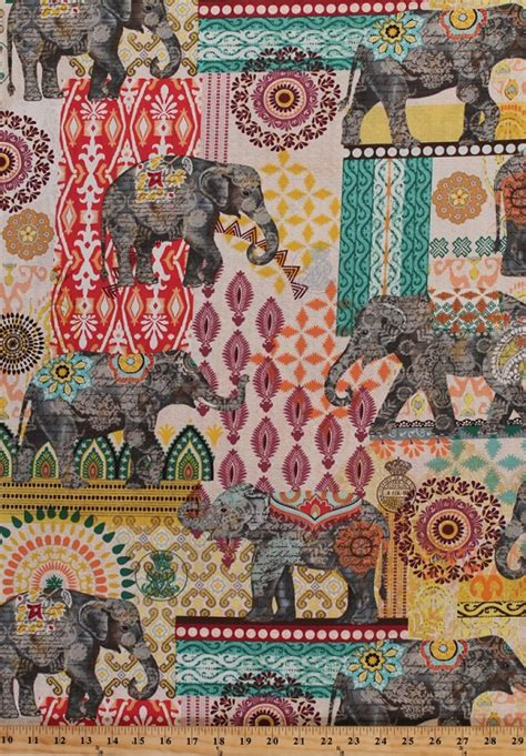 Cotton Elephants Pachyderm Floral Flowers Middle Eastern